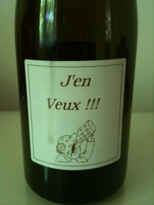 "Ganevat changes the J'en Veux label design often. This one is an older version. Bottles with the latest version of the ""shocking"" label are not allowed into the U.S."