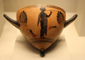 Attic black-figure mastos cup attributed to Psiax, ca. 520-510 BCE